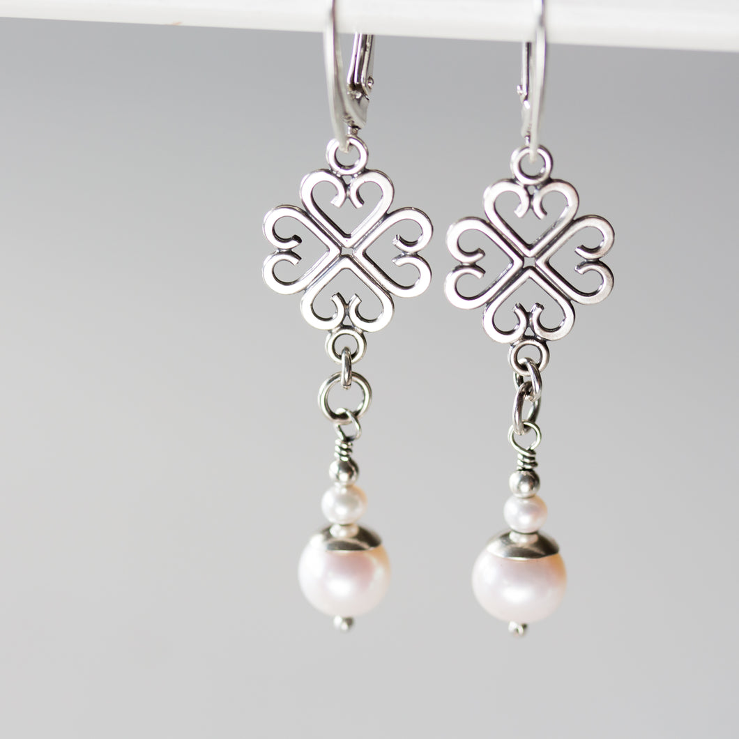 Long Elegant Pearl Earrings, Four Leaf Clover and White Pearl Dangle, Sterling Silver