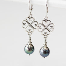 Load image into Gallery viewer, Elegant Four Leaf Clover Earrings with Black Pearl Drop - jewelry by CookOnStrike
