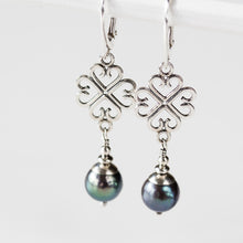 Load image into Gallery viewer, Elegant Four Leaf Clover Earrings with Black Pearl Drop