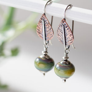 Pastel Green Earrings, hammered copper leaf with lampwork beads - jewelry by CookOnStrike