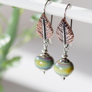 Pastel Green Earrings, hammered copper leaf with lampwork beads