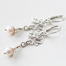 Load image into Gallery viewer, Long Elegant Pearl Earrings, Four Leaf Clover and White Pearl Dangle, Sterling Silver - jewelry by CookOnStrike