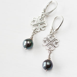 Elegant Four Leaf Clover Earrings with Black Pearl Drop - jewelry by CookOnStrike