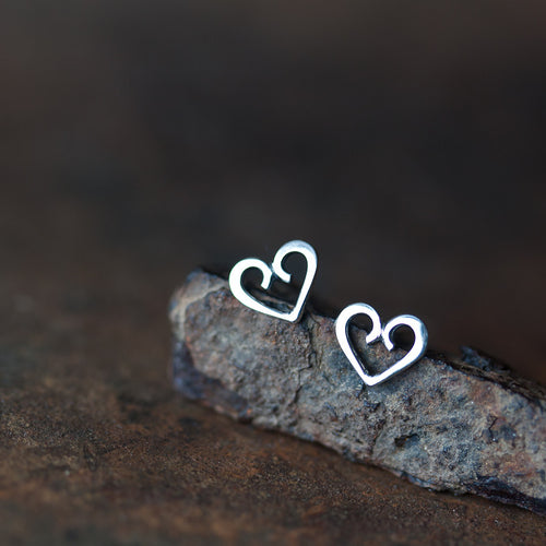 Tiny Heart Stud Earrings, romantic gift for her - jewelry by CookOnStrike