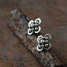 Load image into Gallery viewer, Atomic Arabesque Starburst Flower Stud Earrings, Sterling Silver - jewelry by CookOnStrike