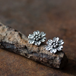 Handmade Flower Stud Earrings, Sterling Silver - jewelry by CookOnStrike