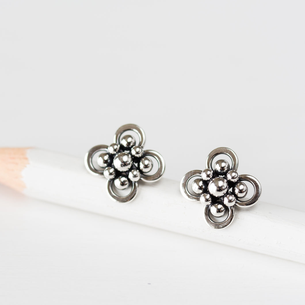 Atomic Arabesque Starburst Flower Stud Earrings, Sterling Silver - jewelry by CookOnStrike
