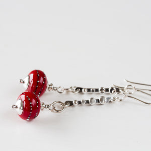 Contemporary Cherry Red Lampwork Earrings, Sterling Silver