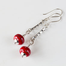 Load image into Gallery viewer, Contemporary Cherry Red Lampwork Earrings, Sterling Silver