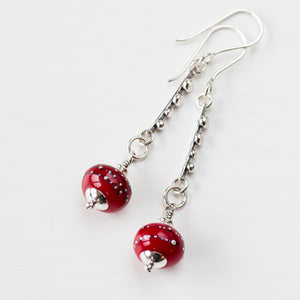 Contemporary Cherry Red Lampwork Earrings, Sterling Silver - jewelry by CookOnStrike