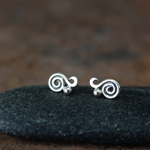 Elegant Dainty Spiral Stud Earrings, Sterling Silver - jewelry by CookOnStrike