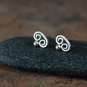 Tiny Double Spiral Stud Earrings, Sterling Silver - jewelry by CookOnStrike