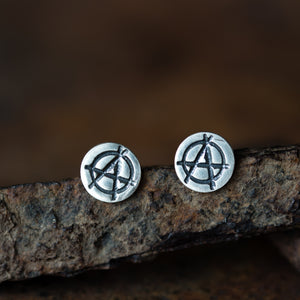 Punk Rock Anarchy Logo Stud Earrings, Hand Stamped Sterling Silver - jewelry by CookOnStrike