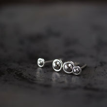 "Load image into Gallery viewer, 4.5mm and 3mm Ball in Circle ""UFO"" Studs, Double Piercing Set in Sterling Silver - CookOnStrike"
