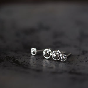 "4.5mm and 3mm Ball in Circle ""UFO"" Studs, Double Piercing Set in Sterling Silver - CookOnStrike"