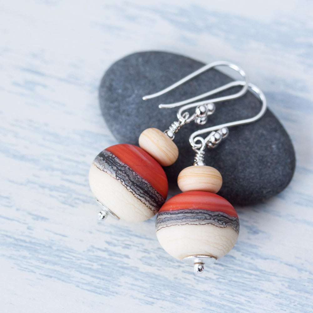 Etched burnt orange red and ivory white lampwork earrings, Sterling silver