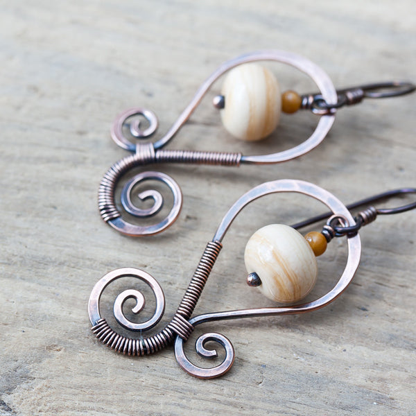 Earthy Ivory Lampwork Earrings, Oxidized copper swirl