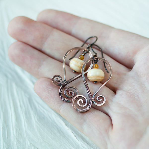 Earthy Ivory Lampwork Earrings, Oxidized copper swirl - CookOnStrike