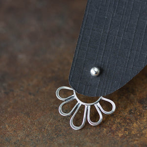 Modern Minimal Silver Petals Ear Jackets, Front And Back Earring Sets - jewelry by CookOnStrike