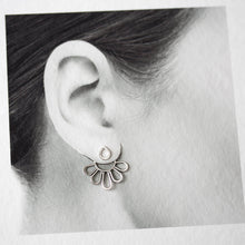 Load image into Gallery viewer, Modern Minimal Silver Petals Ear Jackets, Front And Back Earring Sets - jewelry by CookOnStrike