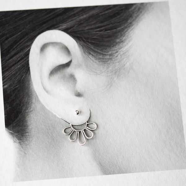 Modern Minimal Silver Petals Ear Jackets, Front And Back Earring Sets - CookOnStrike