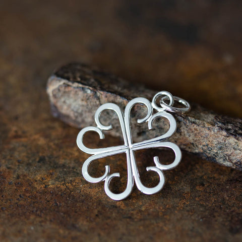 Good Luck Pendant, Small Four Leaf Clover Made of Silver Hearts