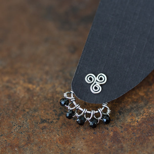Wire Wrapped Sterling Silver Ear Jackets with Black Spinel Gemstone