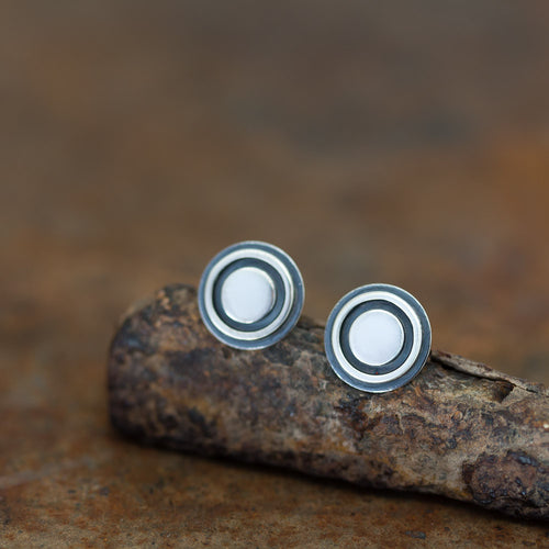 9.5mm Silver Bullseye Stud Earrings, Unisex - jewelry by CookOnStrike