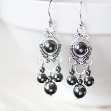 Load image into Gallery viewer, Long Metallic Black Chandelier Earrings, Oxidized sterling silver and hematite - jewelry by CookOnStrike