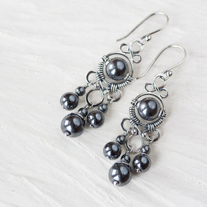 Long Metallic Black Chandelier Earrings, Oxidized sterling silver and hematite - jewelry by CookOnStrike