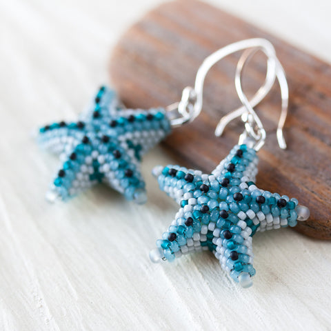 Blue starfish earrings, unique 3d beadwork sea star earrings, beach jewelry - CookOnStrike