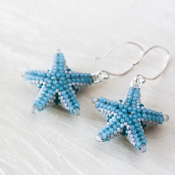 Blue starfish earrings, unique 3d beadwork sea star earrings, beach jewelry