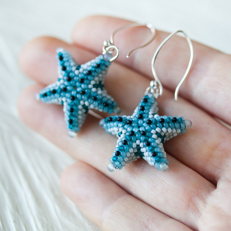 Unique Beaded Periwinkle Seashell Coloring Page: Blue Starfish Earrings, Unique 3d Beadwork Sea Star