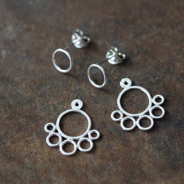 Handcrafted silver ear jacket earrings, solid sterling silver circles