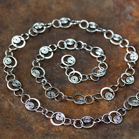 Spirals in Circles, Unique Silver Links Chain Necklace - CookOnStrike