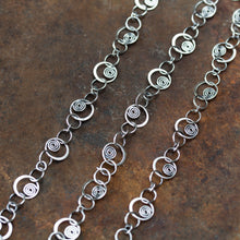 Load image into Gallery viewer, Spirals in Circles, Unique Silver Links Chain Necklace - jewelry by CookOnStrike