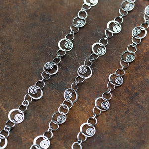 Spirals in Circles, Unique Silver Links Chain Necklace - jewelry by CookOnStrike