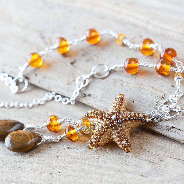 Natural Baltic Amber Necklace with a Beaded Starfish and Ocean Jasper Drops