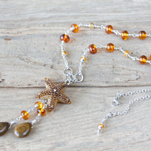 Load image into Gallery viewer, Natural Baltic Amber Necklace with a Beaded Starfish and Ocean Jasper Drops - jewelry by CookOnStrike