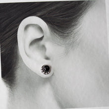 Load image into Gallery viewer, Black Onyx Studs, Round Cabochon Earrings With Silver Dots - CookOnStrike