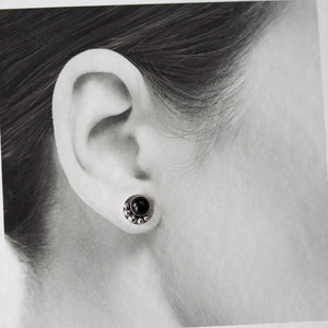 Black Onyx Studs, Round Cabochon Earrings With Silver Dots - jewelry by CookOnStrike