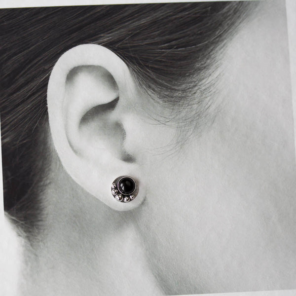 Black Onyx Studs, Round Cabochon Earrings With Silver Dots