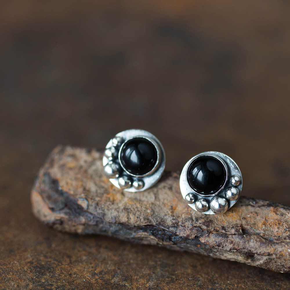 Black Onyx Studs, Round Cabochon Earrings With Silver Dots - CookOnStrike
