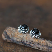 Load image into Gallery viewer, Black Onyx Studs, Round Cabochon Earrings With Silver Dots - jewelry by CookOnStrike