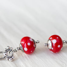 Load image into Gallery viewer, Bright Red Polka Dot Lampwork Earrings, Sterling Silver - jewelry by CookOnStrike