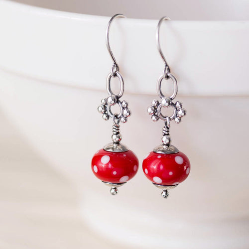 Bright Red Polka Dot Lampwork Earrings, Sterling Silver - jewelry by CookOnStrike