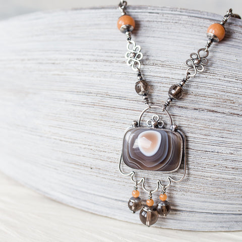 Dainty Bohemian Necklace, Sterling Silver Set Botswana Agate with smoky quartz and peach aventurine