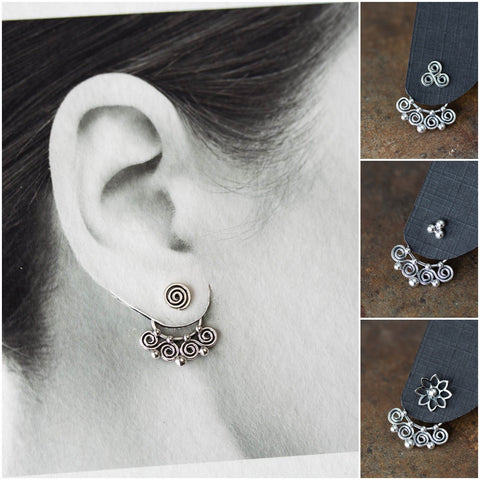 Celtic Style Ear Jackets with Mini Spirals, Sterling Silver