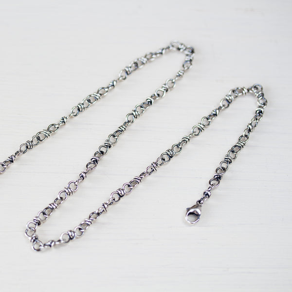 Bigger link wire wrapped chain for pendant, sterling silver - CookOnStrike
