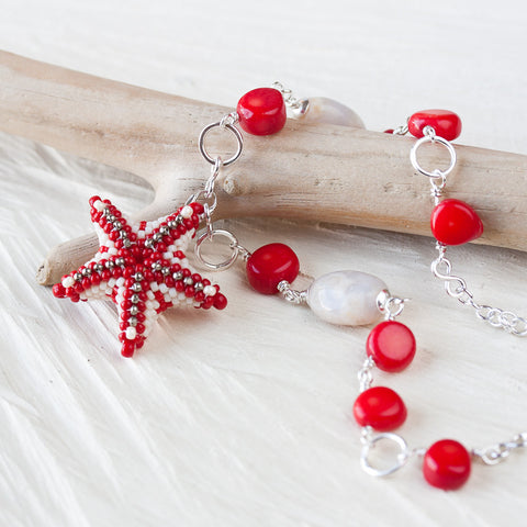 Coral Red Beaded Starfish Necklace, sterling silver chain - CookOnStrike